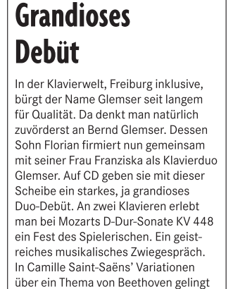 CD-Kritik der Badischen Zeitung